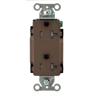 DR20WRTR Receptacle straight blade 2P3W 20A 125V (5-20R) duplex decorator brown Hubbell