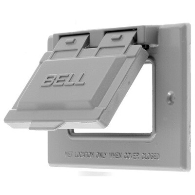 RW51020 Faceplate 1 gang horizontal weatherproof 2X4 duplex (zinc and cast) gray Hubbell