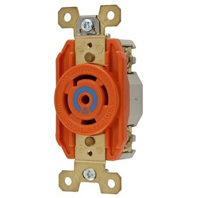 IG2810 Receptacle twist-lock insolate ground 4P5W 30A 120/208V (3 phase) (L21-30R) single orange Hubbell