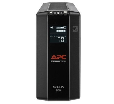BX850M-LM60   UPS 850VA Pro (in 120V nema 5-15P)(out 120V 4 nema 5-15R (Battery BK) 4 nema 5-15R TVSS) LCD interface Cord 1.83Mtrs Apc