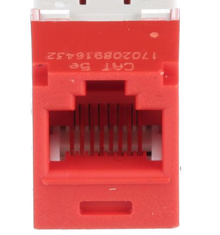 CJ5E88TGRD  Jack CAT5E universal mini-com red Panduit