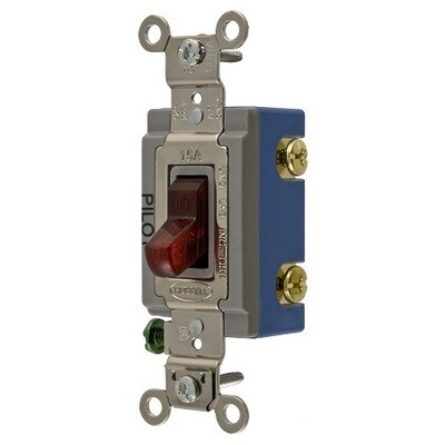 HBL1201PL    Switch single position single pole 15A 120/277V with pilot light red toggle Hubbell