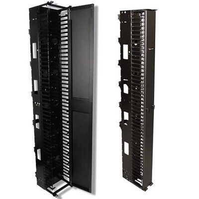 """VCM-10  Organizer Vertical 45U 84""""H x 10""""W x 22.1""""D single sided with cover black Siemon"""