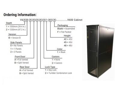 """V62B-2AB111-42F   Cabinet V600 42U 79.4""""H x 23.6""""W x 47.2""""D (2016Hmm x 600Wmm x 1200Dmm) (2 S-P) (doors(F-V) (S-V) (K-L) (castor N) (black) Siemon"""