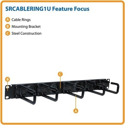 "SRCABLERING1U  Organizer horizontal 19"" 1.7""H X 19""W X 3.8"" 1U Tripp-lite"