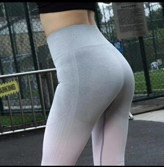 Ombré Yoga Pants-Grey/Pink