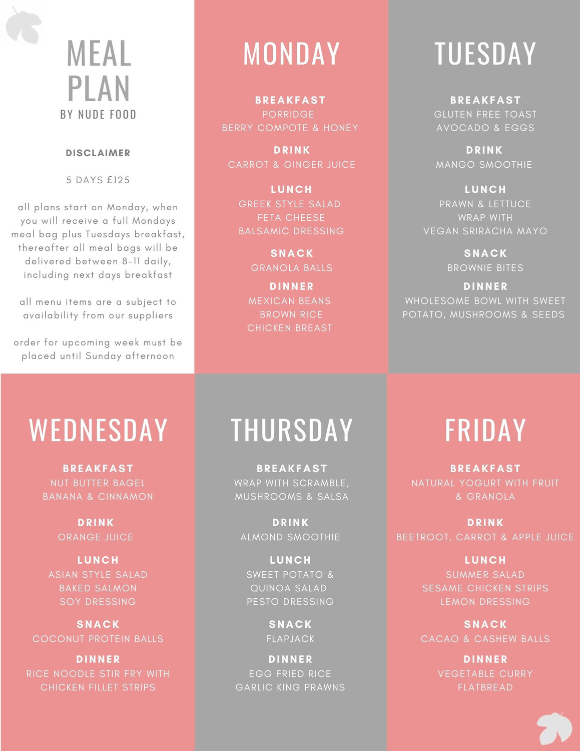5 Day Healthy Eating Meal Plan
