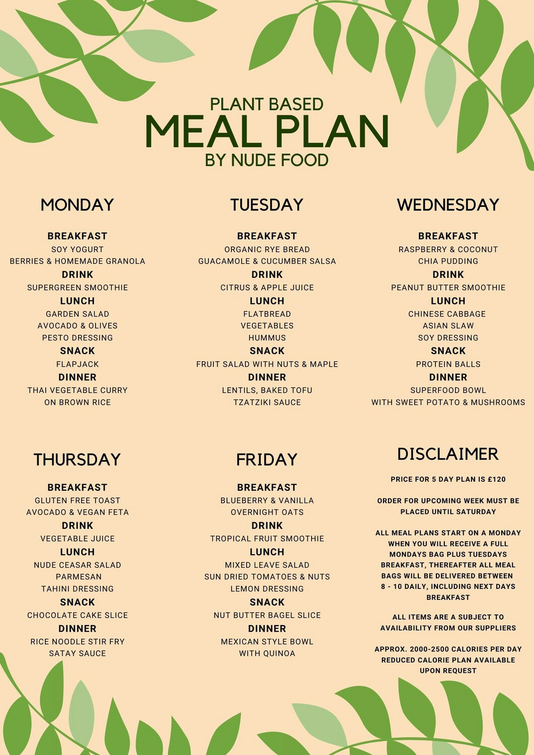 5 Day - Plant Based Plan