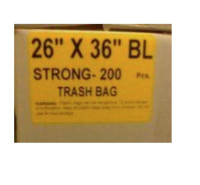 26x36 SO Garbage Bags Strong Black 200 / Case