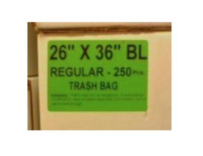 26x36 Garbage Bags Regular Black 250 Bags / Case