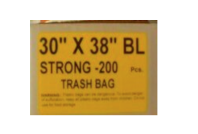 30x38 Garbage Bags Strong Black 200 Bags / Case