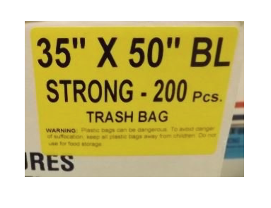 35X50 Garbage Bags Strong Black 200 Bags / Case
