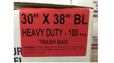 30x38 Garbage Bag Black Heavy Duty HD 100/case