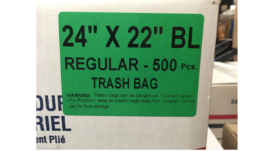 24x22 Garbage Bags Black 500 Liners / Case