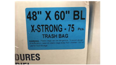 48x60 Garbage Bags X-Strong Black 75 Bags / Case