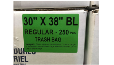 30x38 Garbage Bags Regular Black  250 Bags / Case