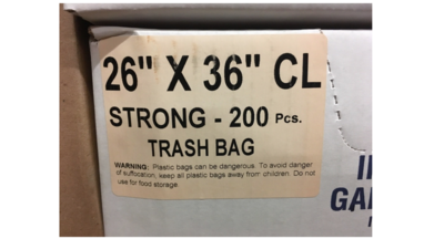26x36 SO Garbage Bags Strong Clear 200 Bags / Case