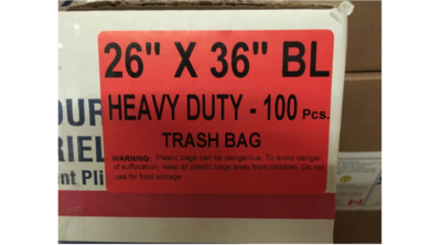 26x36 Garbage Bags Heavy Duty Black 100 Bags /Case