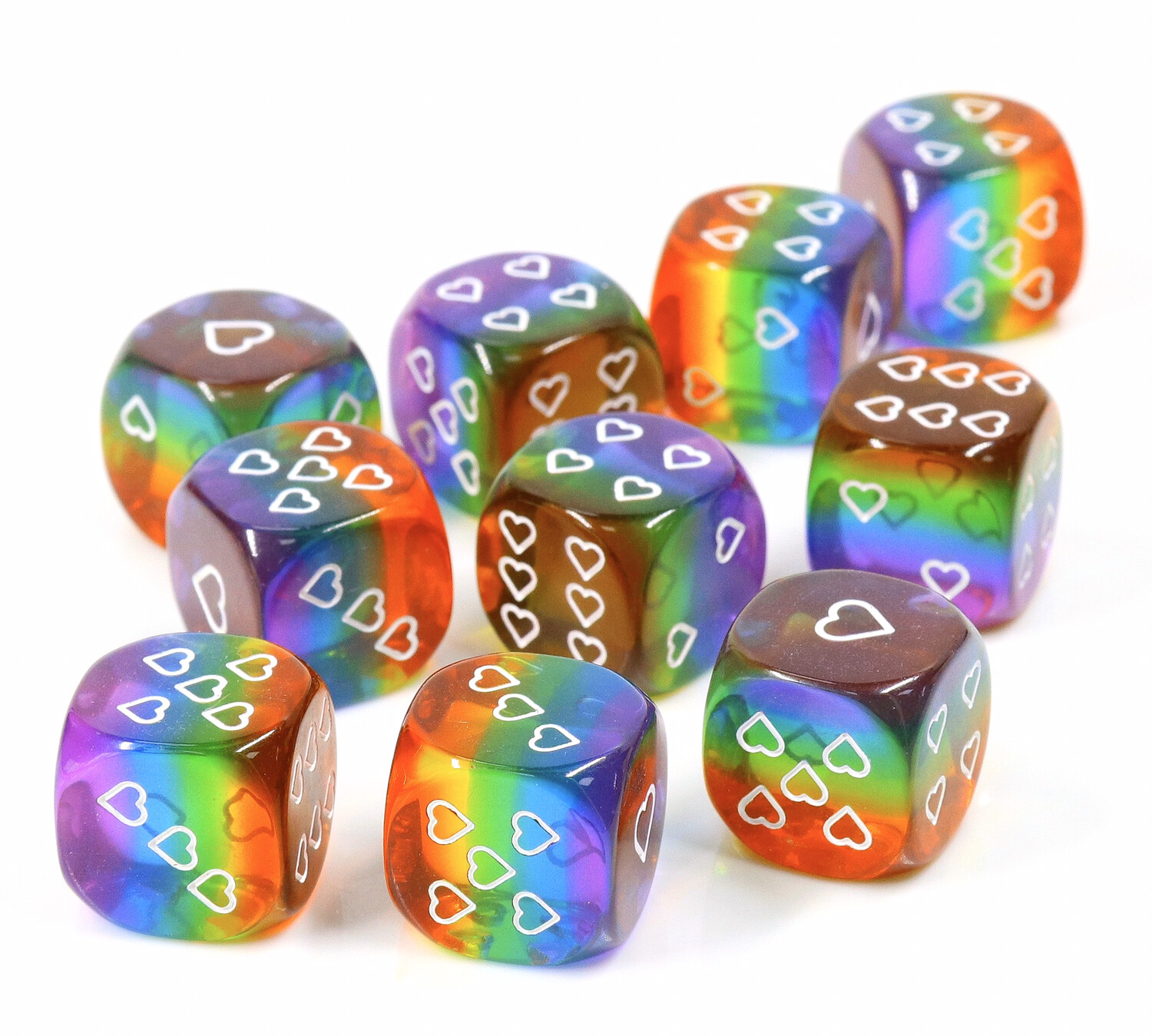 Translucent Pack of 6 Rainbow Pride 16mm D6 Heart Dice