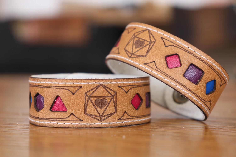 Bisexual Polyhedral Dice Pride Bracelet