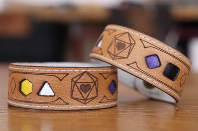 Non-binary Polyhedral Dice Pride Bracelet