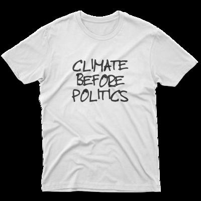 CLIMATE BEFORE POLITICS White Unisex Tee