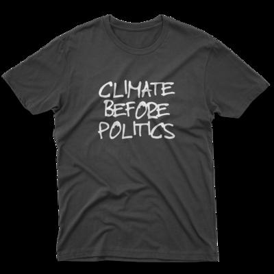 CLIMATE BEFORE POLITICS Black Unisex Tee