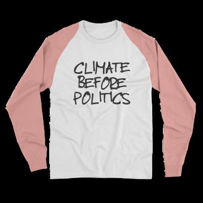 CLIMATE BEFORE POLITICS White/Pink Baseball Tee