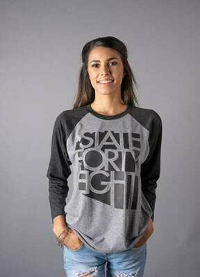 State Forty-Eight Raglan Tee | Grey & Black