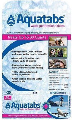 Aquatabs Water Purification Tablets - 30 Count
