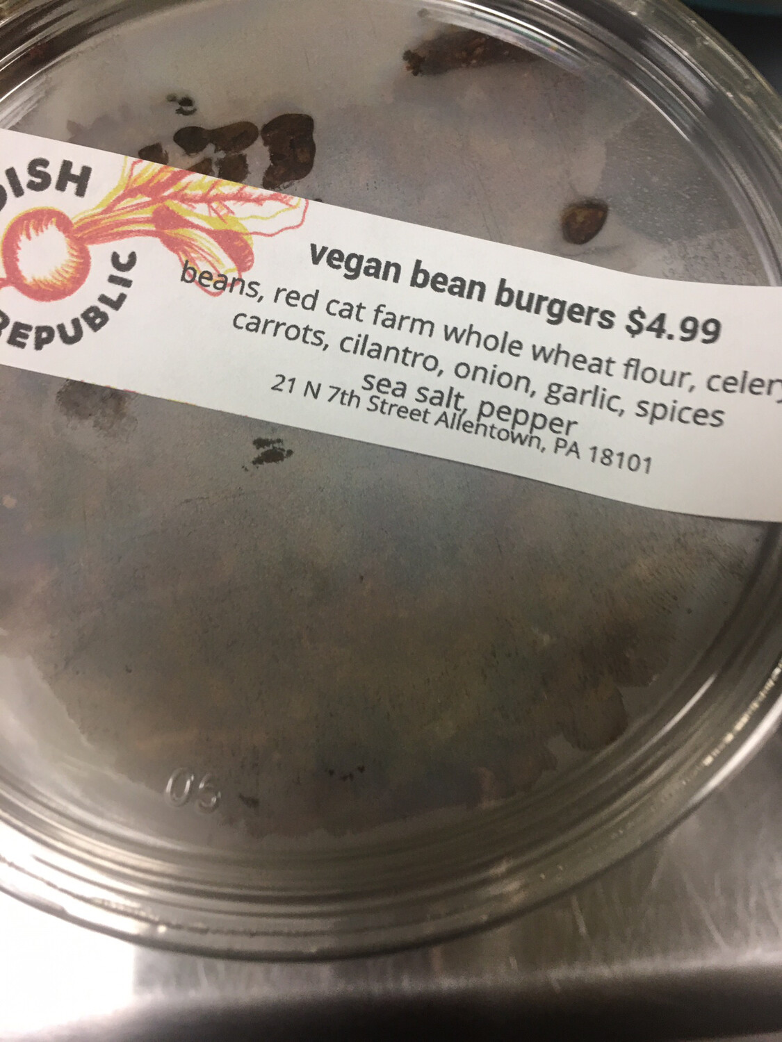 Radish Republic vegan bean burger