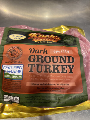 Koch's dark Ground Turkey (1 lb pack)