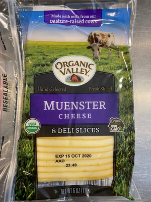 Organic Valley sliced Meunster Cheese 6 ounce