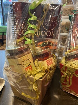Jenny Kuali gift basket with cook book and sauces