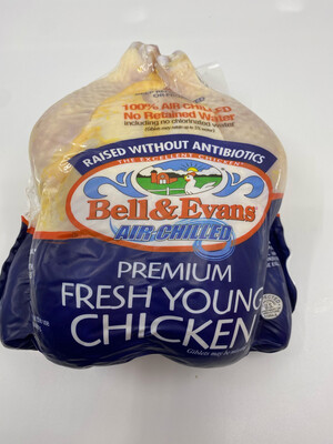 Bell and Evans whole fresh young chicken (about 4.5 lbs)