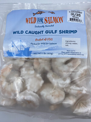 Wild For Salmon PP Wild Caught Gulf Shrimp Peeled And Deveined 1 pound 31/35