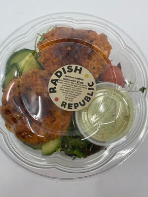 Radish Republic salmon patties salad with Rach dressing