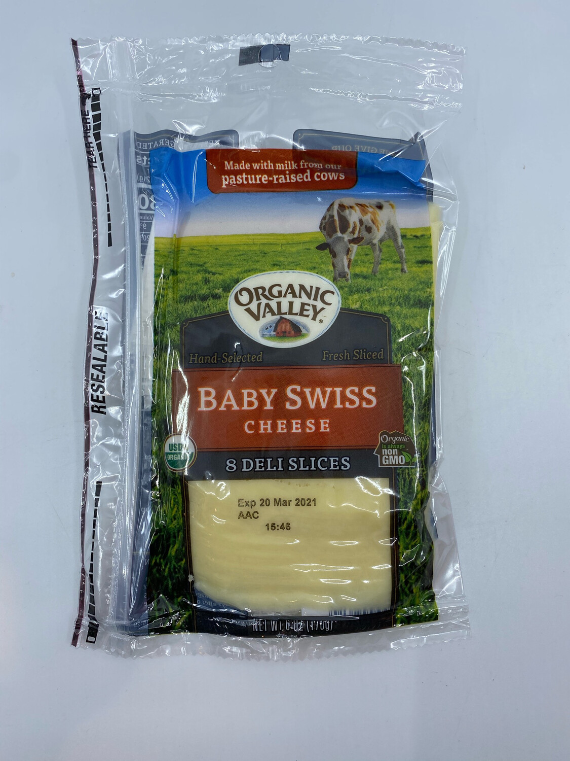 Organic Valley sliced baby swiss 6 ounce
