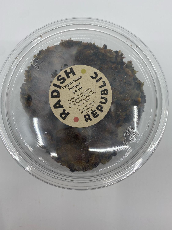 Radish Republic vegan bean burger