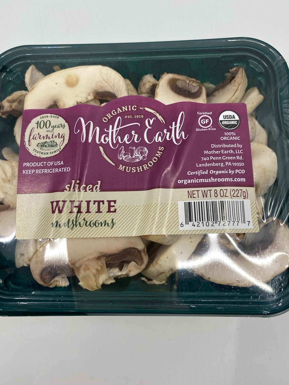 Mother Earth Mushrooms OG sliced white mushrooms 3.5 ounce