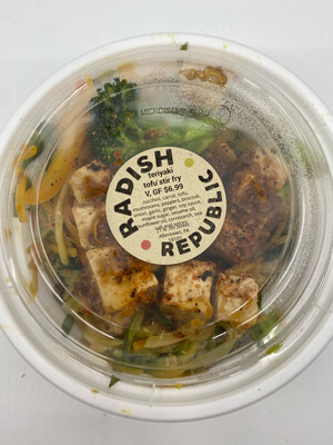 Teriyaki tofu with vegetable stir fry (16 ounce container) GF, Vegan