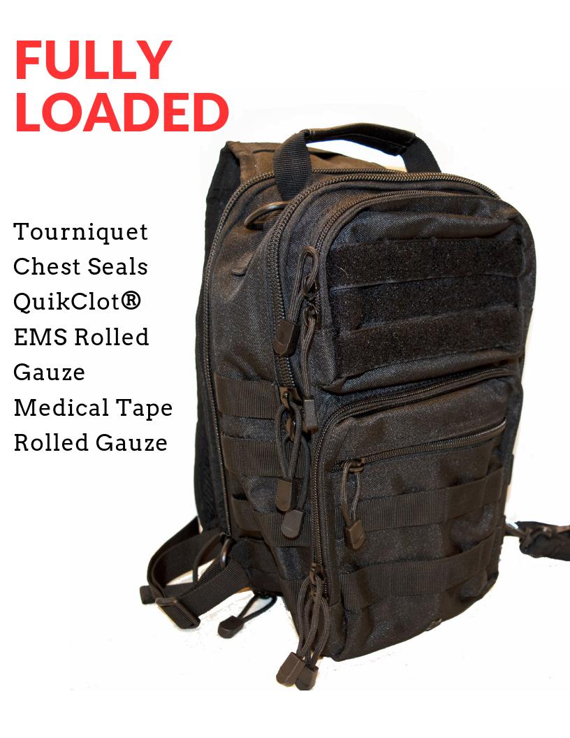 "Tactical Go Bag ""Fully Loaded"" w/QuikClot, Tourniquet, Seals, Gauze, Tape"