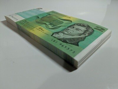 UNC Australian $2 note bundle of 100 consecutive