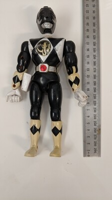 Black ranger kicking action figure