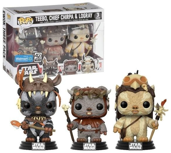 Star Wars - Teebo, Chief Chirpa, Logray US Exclusive Pop! 3-Pack Walmart exclusive stickers