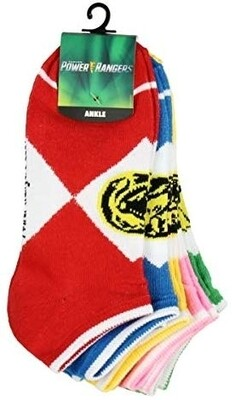 5 pairs of power Ranger Socks- ankle socks