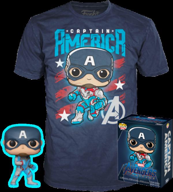 Avengers 4: Endgame - Captain America Glow in the Dark Pop! Vinyl Figure & T-Shirt Box Set