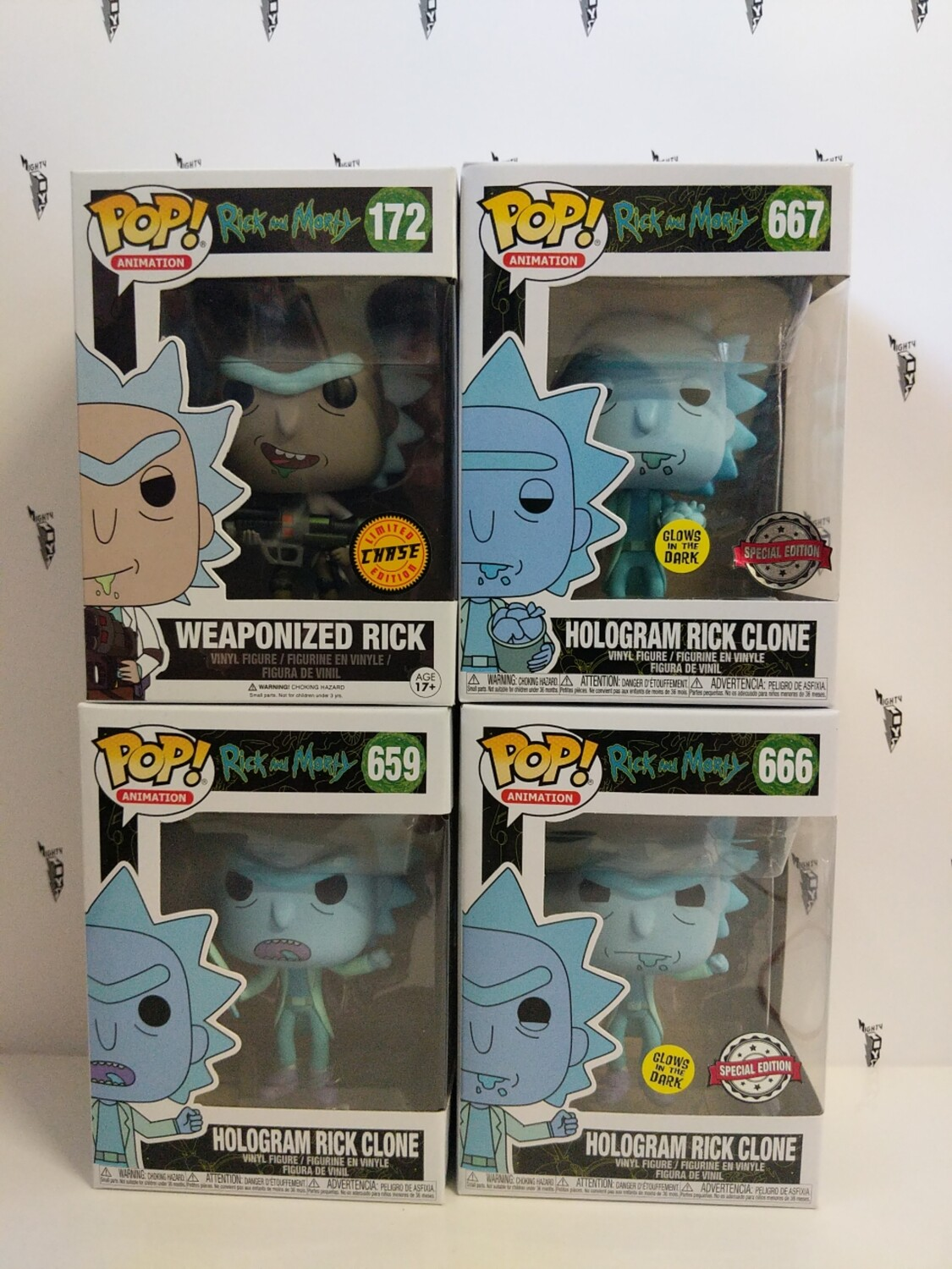 Rick and Morty - Hologram Rick Clone and Chase Pop! Vinyl bundle ( set of 4)