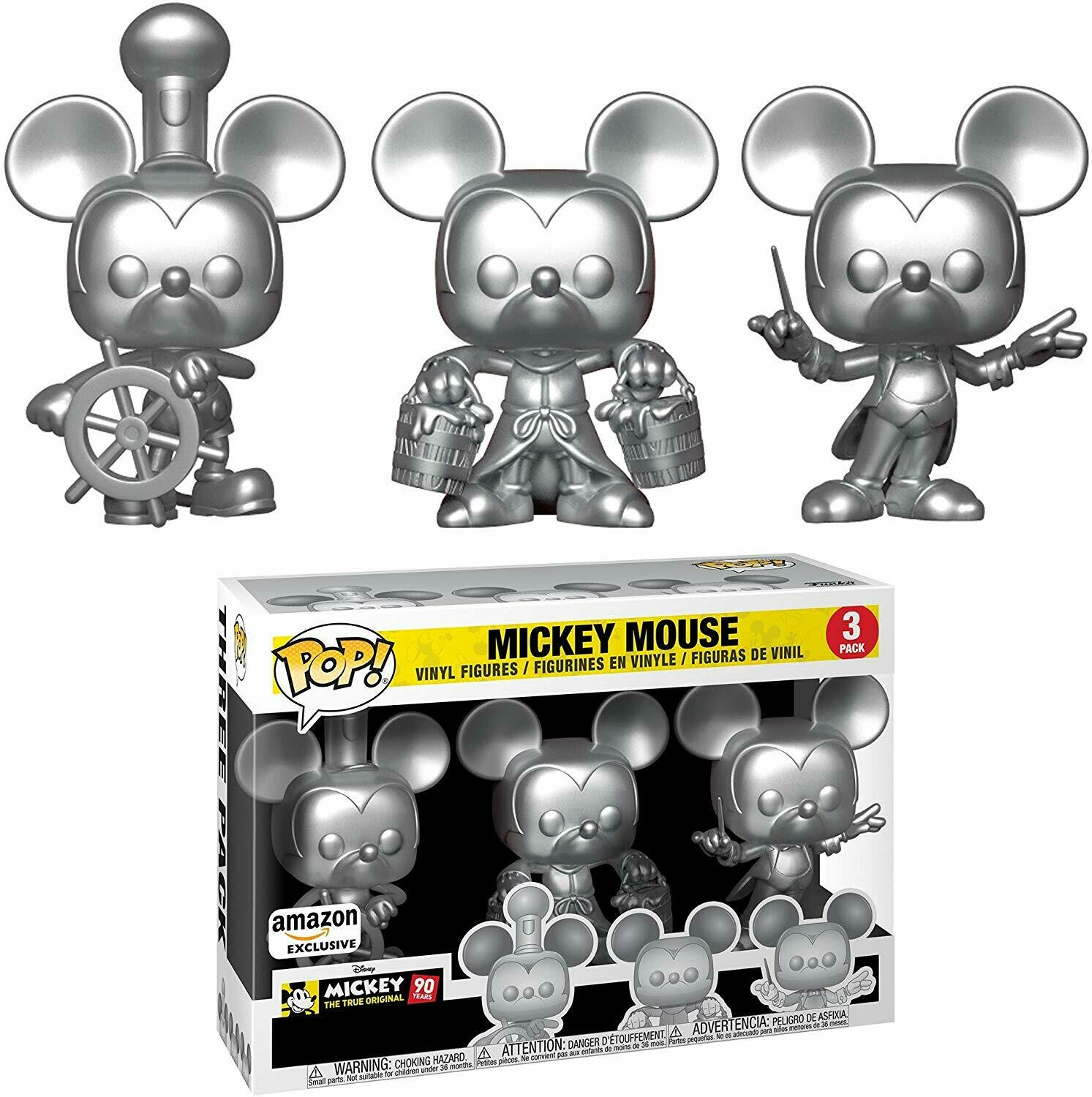 Mickey Mouse- 3 Pack & Tee: Disney - Mickey's 90th T-Shirt & Silver Steamboat Willie, Conductor, & Apprentice Pop Vinyl figure