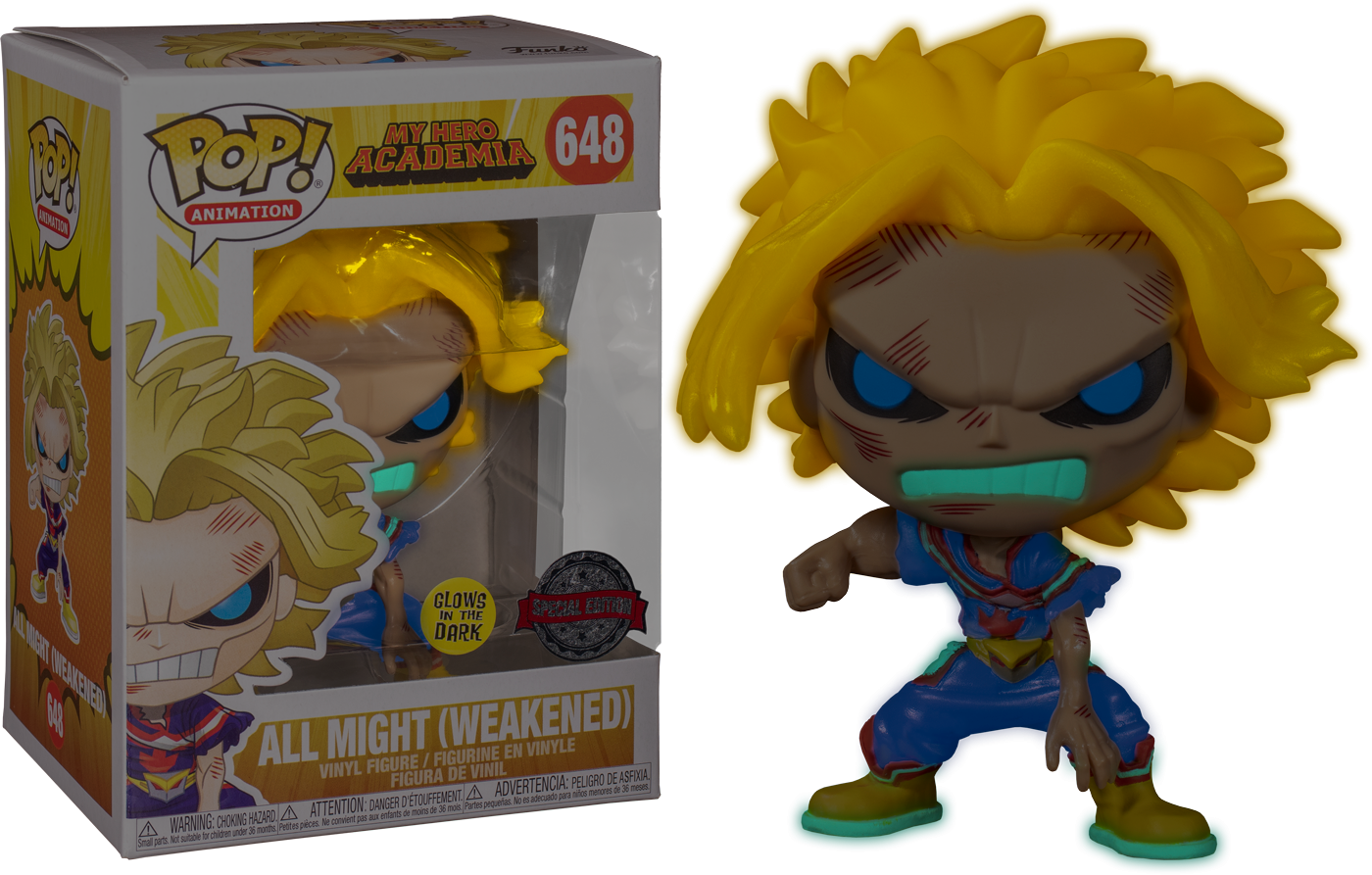 Pre-order: My Hero Academia - All Might Weakened Glow in the Dark Pop! Vinyl Figure